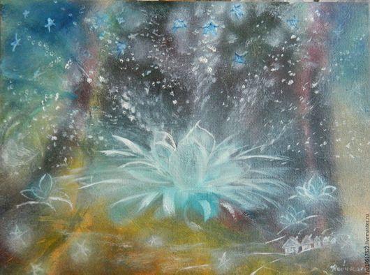 """Фэнтези ручной работы. Ярмарка Мастеров - ручная работа. Купить Маленькая картина для души """"Космическая музыка"""" фэнтези. Handmade. Голубой"""