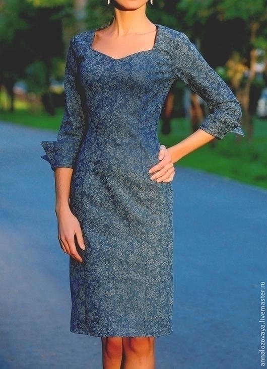 Платья ручной работы. Ярмарка Мастеров - ручная работа. Купить Джинсовое платье 007. Handmade. Синий, платье, платье коктейльное