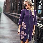 Одежда ручной работы. Ярмарка Мастеров - ручная работа Валяное пальто-кокон с шелковыми цветами. Handmade.
