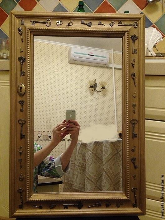 """Зеркала ручной работы. Ярмарка Мастеров - ручная работа. Купить Зеркало """"Незолотой ключик"""". Handmade. Зеркало, зеркало в деревянной раме"""