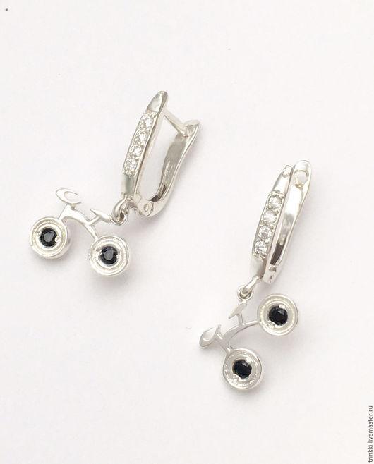 Велосипеды, серьги из серебра с английским замком