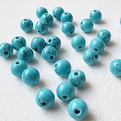 Материалы для творчества handmade. Livemaster - original item Turquoise 6 mm imitation blue beads. Handmade.