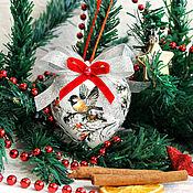 Сувениры и подарки handmade. Livemaster - original item In stock! Set of Christmas toys Tit decoupage. Handmade.