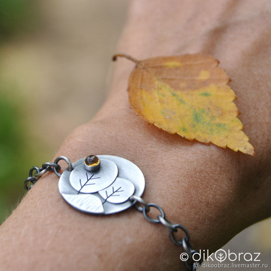 Браслет Осень (серебро 925, цитрин), Браслет из бусин, Москва,  Фото №1