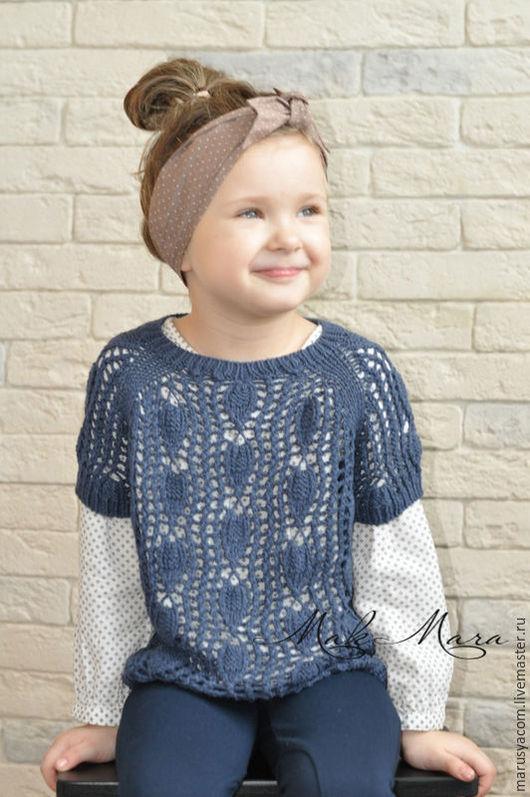 """Одежда для девочек, ручной работы. Ярмарка Мастеров - ручная работа. Купить Джемпер """"Листочки"""". Handmade. Тёмно-синий, легкий, тонкий"""