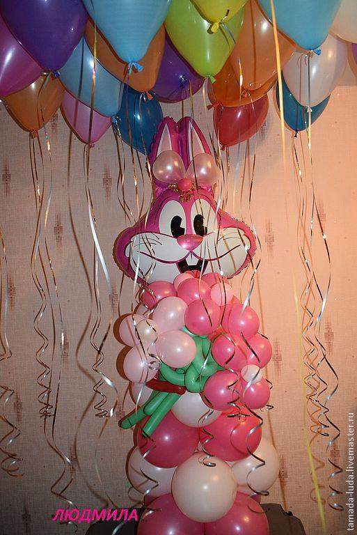Зайчик из воздушных шаров.Оформление  дня рождения.