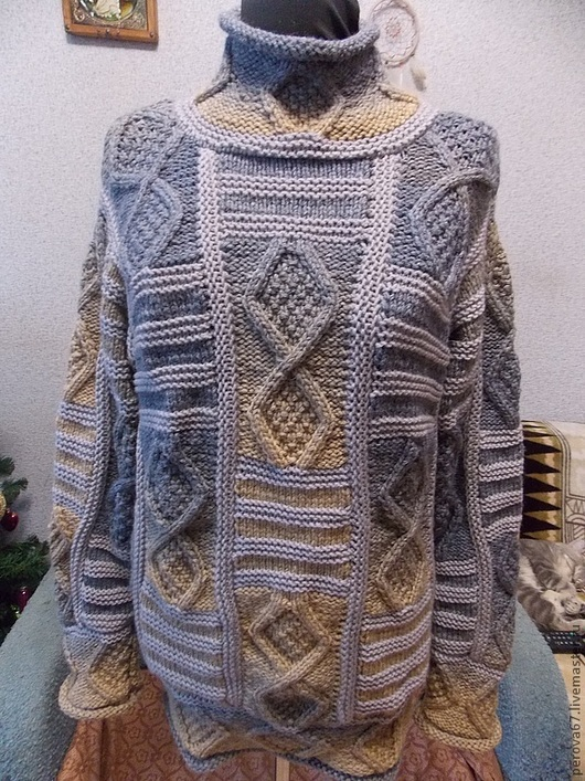 Кофты и свитера ручной работы. Ярмарка Мастеров - ручная работа. Купить Свитер женский вязаный пэчворк Джинсовый. Handmade. Синий