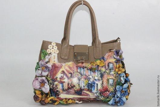 женская сумочка с цветами из кожи в стиле прованс