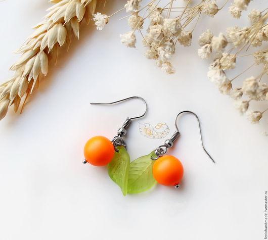 """Серьги ручной работы. Ярмарка Мастеров - ручная работа. Купить Серьги """"Апельсинки"""". Handmade. Оранжевый, серьги, акрил"""