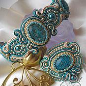 Украшения handmade. Livemaster - original item Set Bracelet and brooch soutache