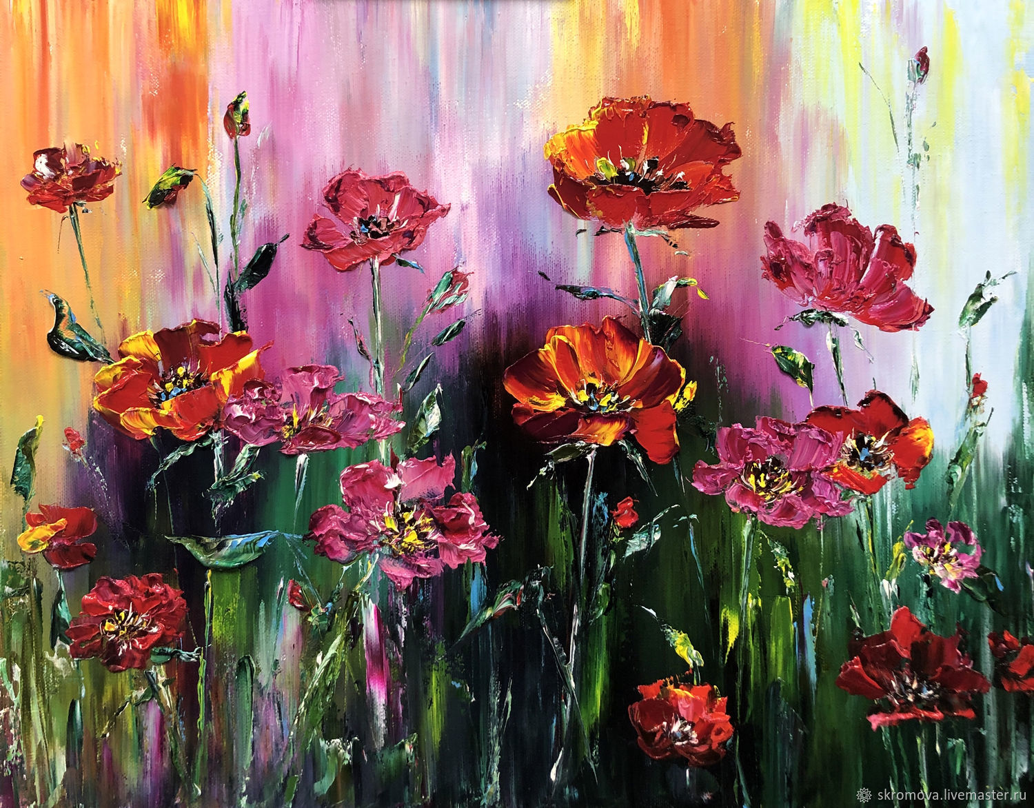 Oil painting with red poppies, Pictures, Moscow,  Фото №1