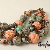 Украшения handmade. Livemaster - original item Coral turquoise bracelet. Handmade.