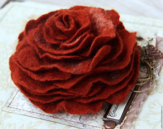 """Броши ручной работы. Ярмарка Мастеров - ручная работа. Купить Валяная брошь """"Рыжая роза"""". Handmade. Брошь, брошь из войлока"""
