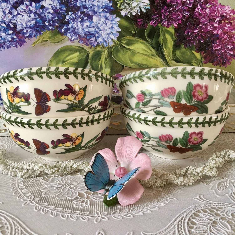 Винтажная посуда. Ярмарка Мастеров - ручная работа. Купить Винтаж: Цикломены. САЛАТНИКИ пиалы чаши для каши мюсли Портмерион. Handmade.