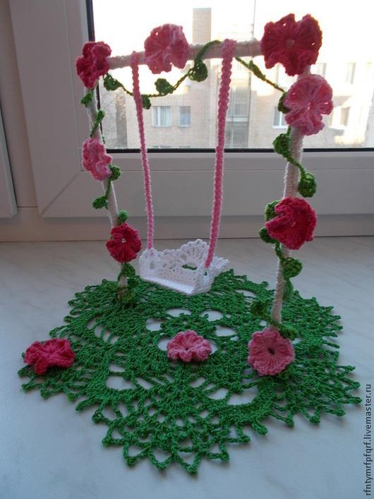 """Текстиль, ковры ручной работы. Ярмарка Мастеров - ручная работа. Купить Ажурная салфетка """"Качели на травке"""". Handmade. Разноцветный, цветы"""