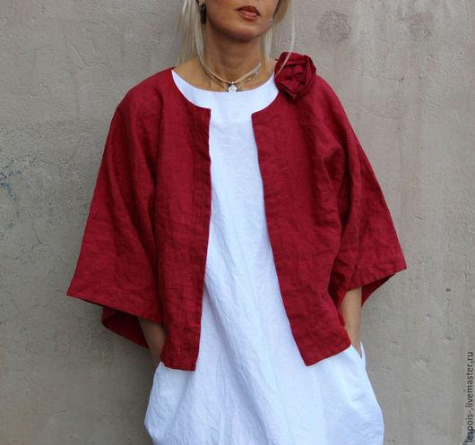 Пиджаки, жакеты ручной работы. Ярмарка Мастеров - ручная работа. Купить Льняной жакет - кимоно. Handmade. Бордовый, стильный