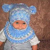 Работы для детей, ручной работы. Ярмарка Мастеров - ручная работа вязаная детская шапочка и воротник. Handmade.