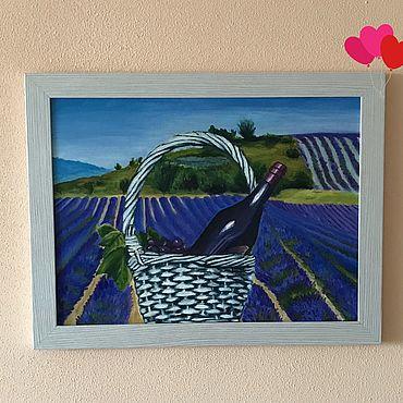 Картины и панно ручной работы. Ярмарка Мастеров - ручная работа Картины: Пикник на лавандовом поле маслом. Handmade.