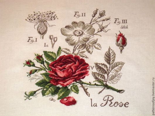 Картины цветов ручной работы. Ярмарка Мастеров - ручная работа. Купить Ручная работа, вышитая картина Роза красная. Handmade.