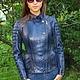 Верхняя одежда ручной работы. Ярмарка Мастеров - ручная работа. Купить Куртка из питона. Handmade. Тёмно-синий, куртка, питон