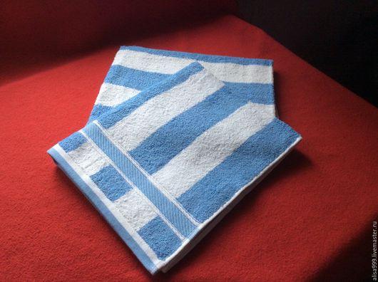 Кухня ручной работы. Ярмарка Мастеров - ручная работа. Купить Махровые полотенца 50x95см. Handmade. Бело-голубой