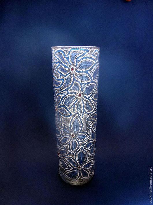 ваза для цветов, ваза роспись, ваза стеклянная, вазы под цветы, ваза в подарок, point-to-point