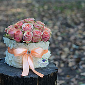 Цветы и флористика ручной работы. Ярмарка Мастеров - ручная работа Букет на свадьбу в коробочке. Handmade.
