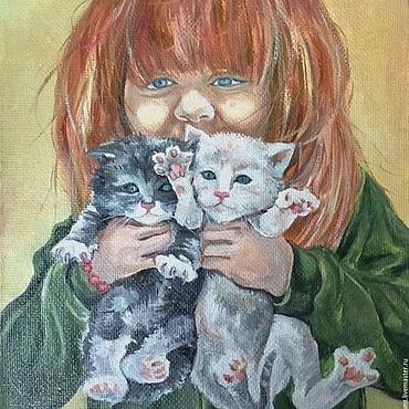 Картины и панно ручной работы. Ярмарка Мастеров - ручная работа Картина Девочка с котятами: желтый,травяной, зеленый, рыжий, кот. Handmade.