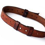 Аксессуары handmade. Livemaster - original item Handmade leather belt. Dark brown. Minimalism. Handmade.
