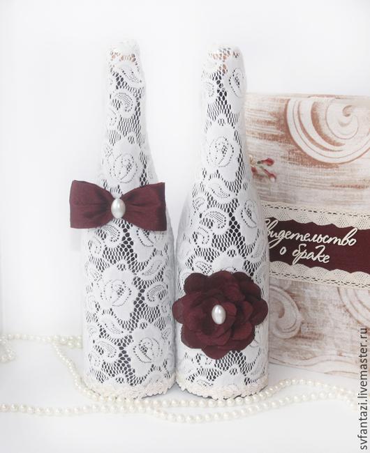 Свадебные аксессуары ручной работы. Ярмарка Мастеров - ручная работа. Купить Чехлы для свадебных бутылок. Handmade. Разноцветный, гипюр