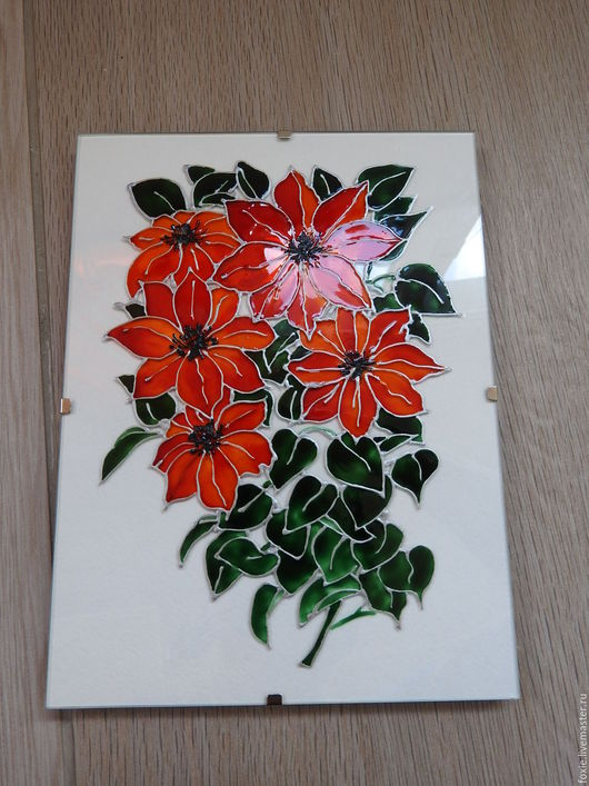 """Картины цветов ручной работы. Ярмарка Мастеров - ручная работа. Купить Панно-стекло """"Красные цветы"""". Handmade. Панно-стекло"""