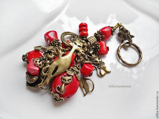 Брелок для ключей, Украшение на сумку Кошки Тоже Верят в Чудеса, Бронза, Кораллы красные брелок на сумку, брелок для сумки, оригинальный подарок, брелок для ключей, брелок на ключи, брелок на джинсы,