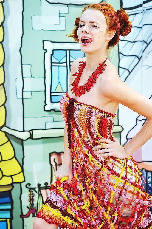 """Платья ручной работы. Ярмарка Мастеров - ручная работа. Купить Платье """"Сладка ягодка"""" крючком из хлопка. Handmade. В клеточку"""