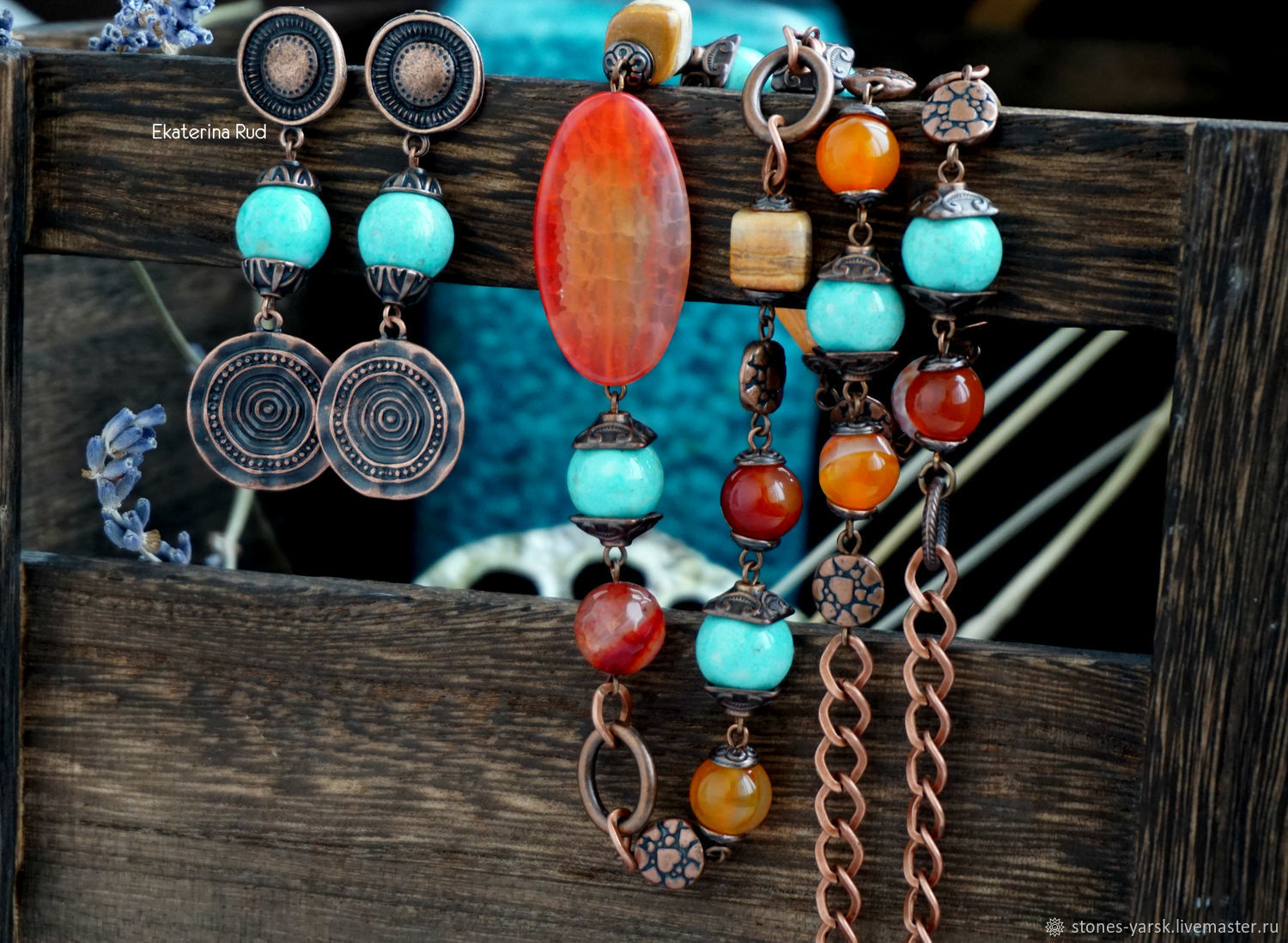 Necklace and earrings copper BOHO stones ' Eastern tales', Necklace, Moscow,  Фото №1