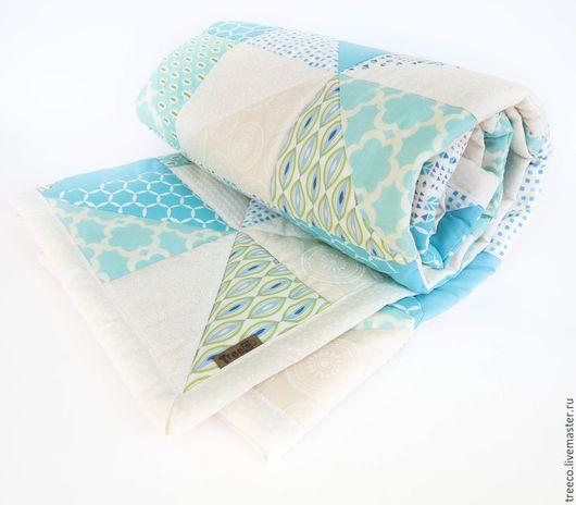 Текстиль, ковры ручной работы. Ярмарка Мастеров - ручная работа. Купить Нежно-бирюзовое лоскутное одеяло. Handmade. Бирюзовый