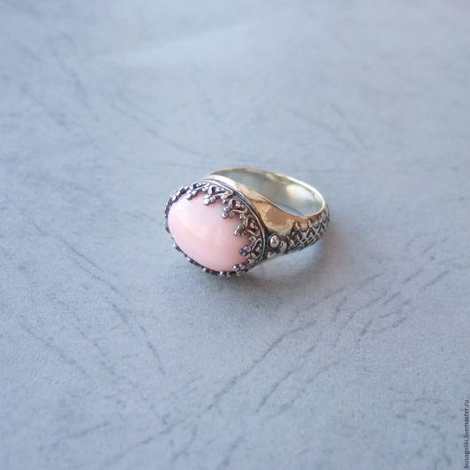 """Серьги ручной работы. Ярмарка Мастеров - ручная работа. Купить Серебряное кольцо с розовым опалом  """"Эмма"""". Handmade. Розовый опал"""