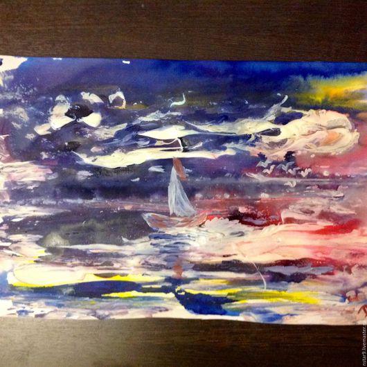 Абстракция ручной работы. Ярмарка Мастеров - ручная работа. Купить Красочный морской пейзаж.. Handmade. Синий, купить картину недорого