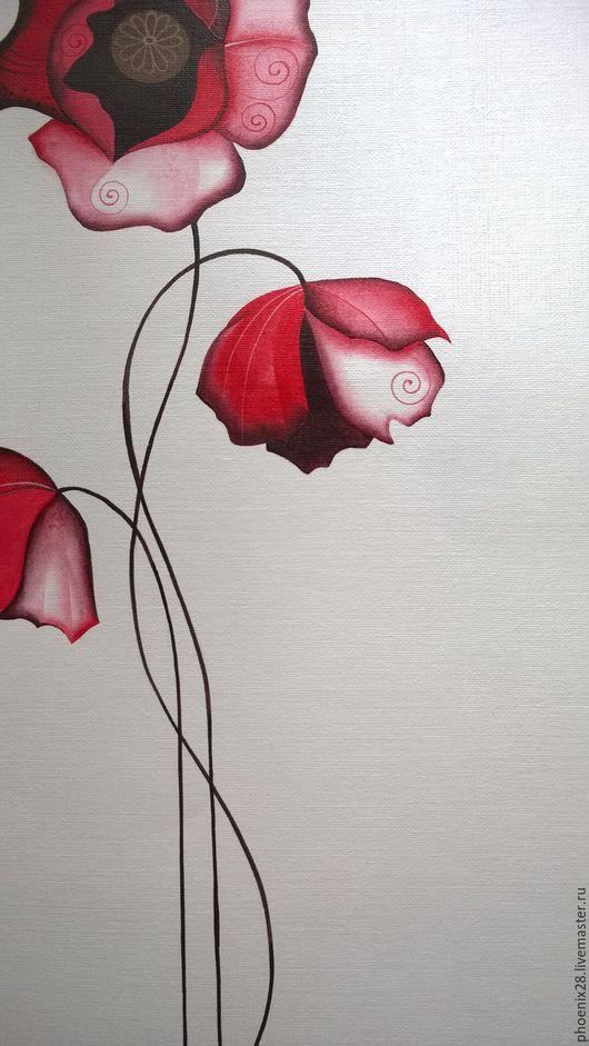 """Картины цветов ручной работы. Ярмарка Мастеров - ручная работа. Купить """"Три заветных желания. Маки"""", картина акрилом. Handmade."""