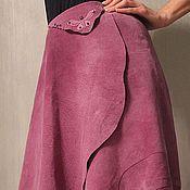 Одежда ручной работы. Ярмарка Мастеров - ручная работа Юбка из натуральной замши декором из аметистов. Handmade.