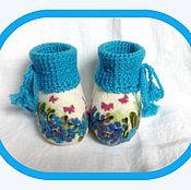 """Обувь ручной работы. Ярмарка Мастеров - ручная работа Пинеточки """"Голубые кружева"""". Handmade."""