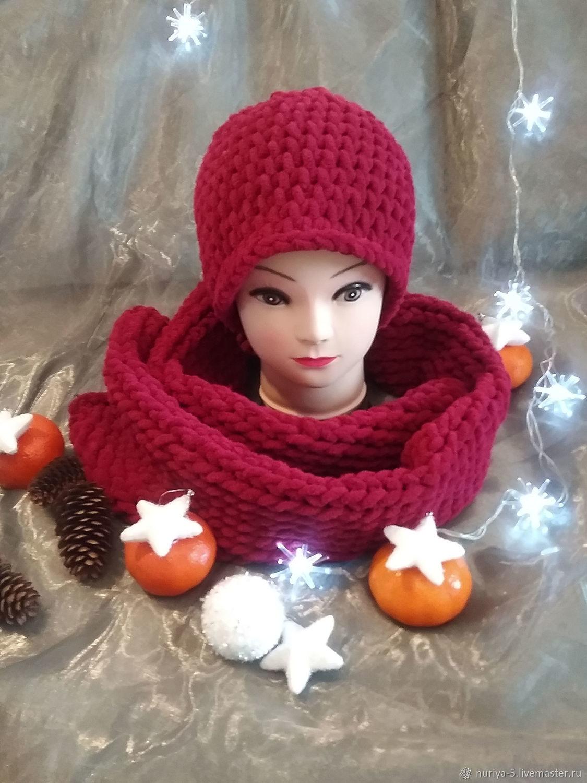 Комплект шарф и шапка вишня, Шарфы, Самара,  Фото №1