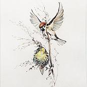 Картины и панно handmade. Livemaster - original item Watercolor painting Sparrow and Siskin. Handmade.