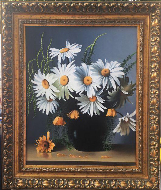 Картины цветов ручной работы. Ярмарка Мастеров - ручная работа. Купить Ромашки. Handmade. Ромашки, цветы, масло, ваза