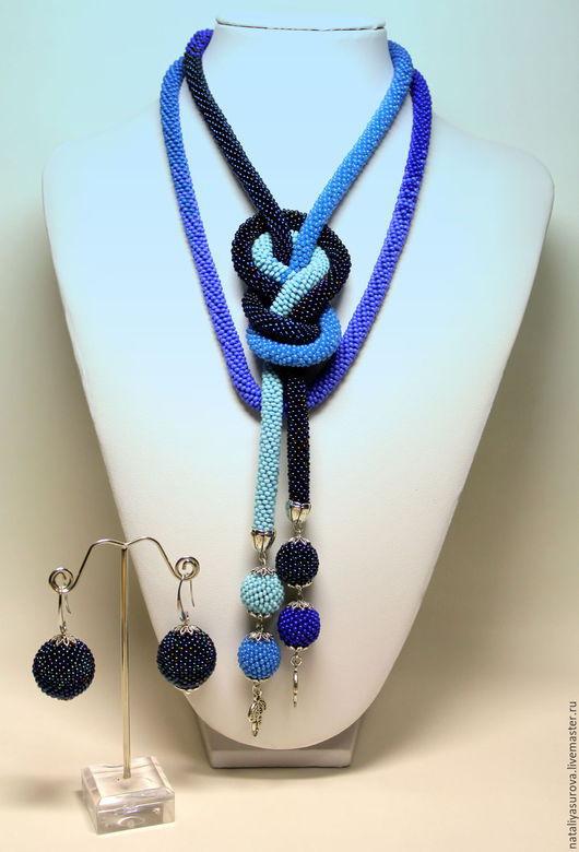 """Лариаты ручной работы. Ярмарка Мастеров - ручная работа. Купить Лариат """"Синее"""". Handmade. Синий, оригинальный подарок, что подарить женщине"""