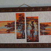Картины и панно ручной работы. Ярмарка Мастеров - ручная работа Африка. Оранжевая река.. Handmade.