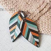 Украшения handmade. Livemaster - original item Autumn grass - wooden earrings. Handmade.