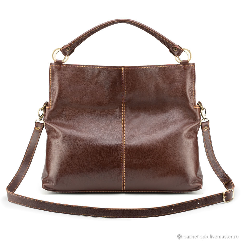Womens leather bag 'Vuitton' (brown with a red), Shopper, St. Petersburg,  Фото №1