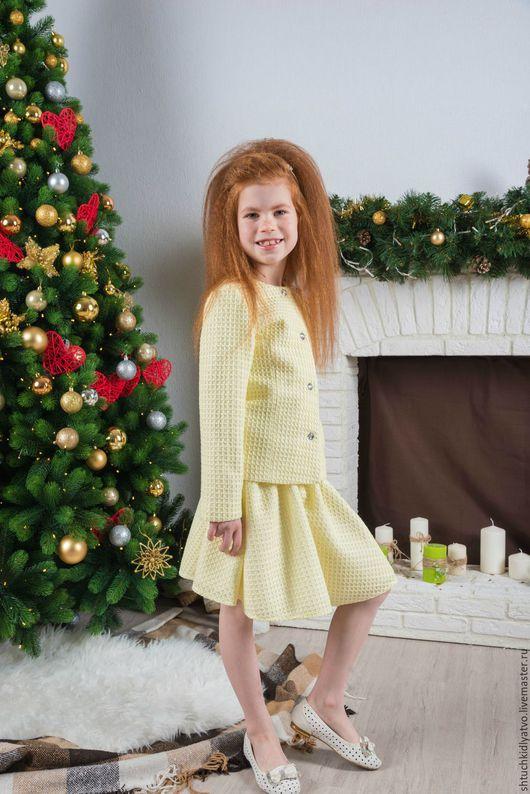 Одежда для девочек, ручной работы. Ярмарка Мастеров - ручная работа. Купить Элегантный желтый костюм с юбкой. Handmade. Желтый, жакет