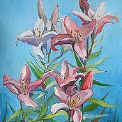Картины ручной работы. Ярмарка Мастеров - ручная работа Картина Цветы лилии Холст масло 35 на 50 см. Handmade.