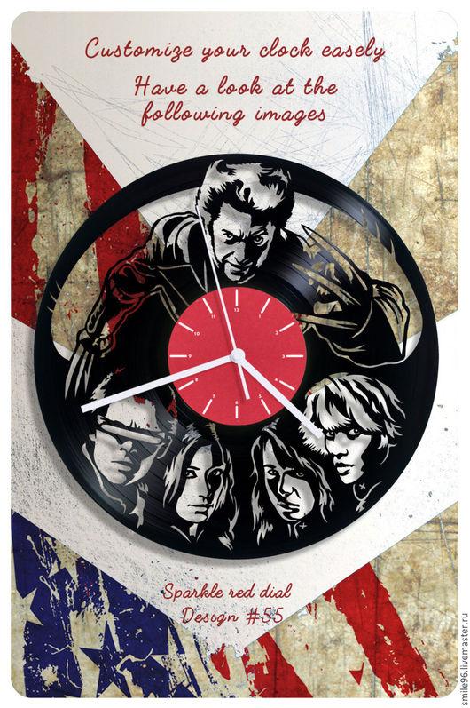 """Часы для дома ручной работы. Ярмарка Мастеров - ручная работа. Купить Часы из пластинки """"Люди икс"""". Handmade. Люди икс"""